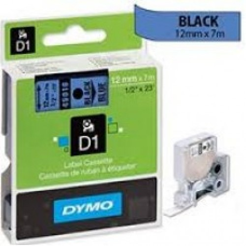 12MM X 7M Dymo D1 Tape Black on Blue