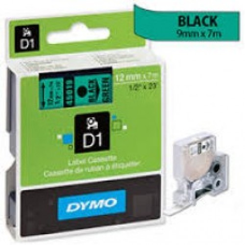 12MM X 7M Dymo D1 Tape Black on Green