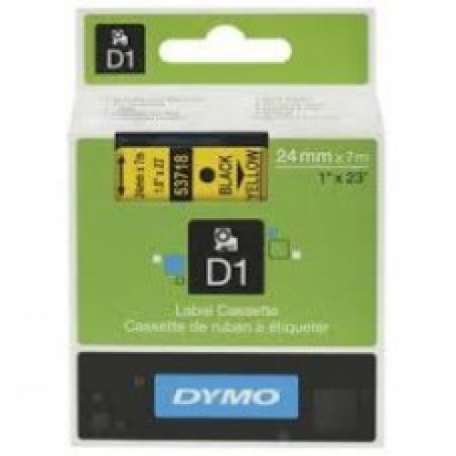 12MM X 7M Dymo D1 Tape Black on Yellow