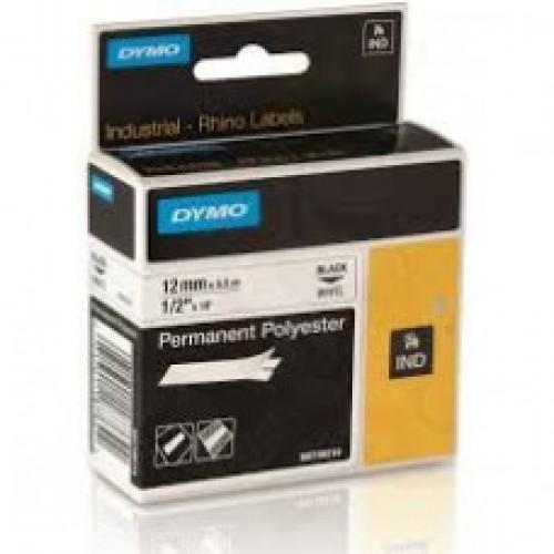 Dymo 12mm X 3.5m Nylon Black on White Tape