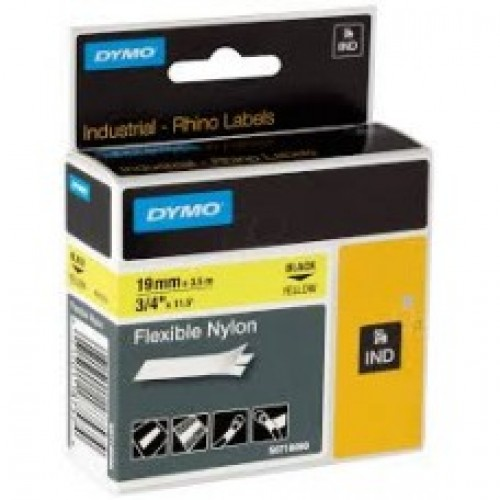 Dymo 19mm X 3.5m Nylon Black on White Tape