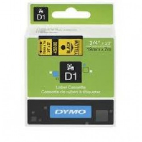 19MM X 7M Dymo D1 Black on Yellow
