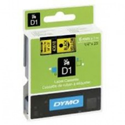 6MM X 7M Dymo D1 Tape Black on Yellow