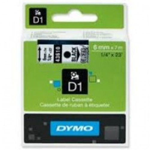 6MM X 7M Dymo D1 Tape Black on Clear