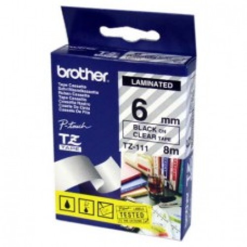 6mmx8mtr--TZe 111 Black on Clear Brother Labels