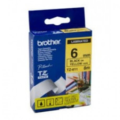 6mmx8mtr--TZe 611 Black on Yellow Brother Labels