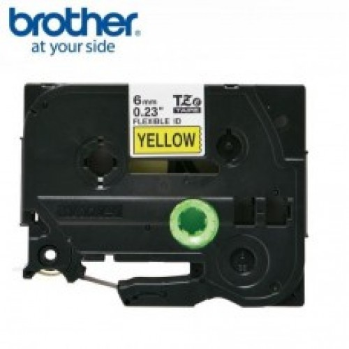 Brother Tze-FX611 Flexible Id laminated label  6mmx8mtrs Black on yellow
