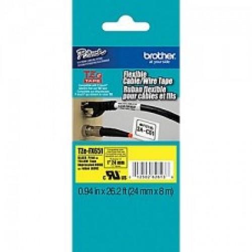 Brother Tze-FX651 Flexible Id laminated label 24mmx8mtrs Black on yellow