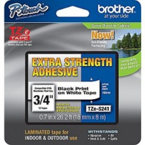 Brother TZe S241 strong adhesive  p-touch label 18mm black on white